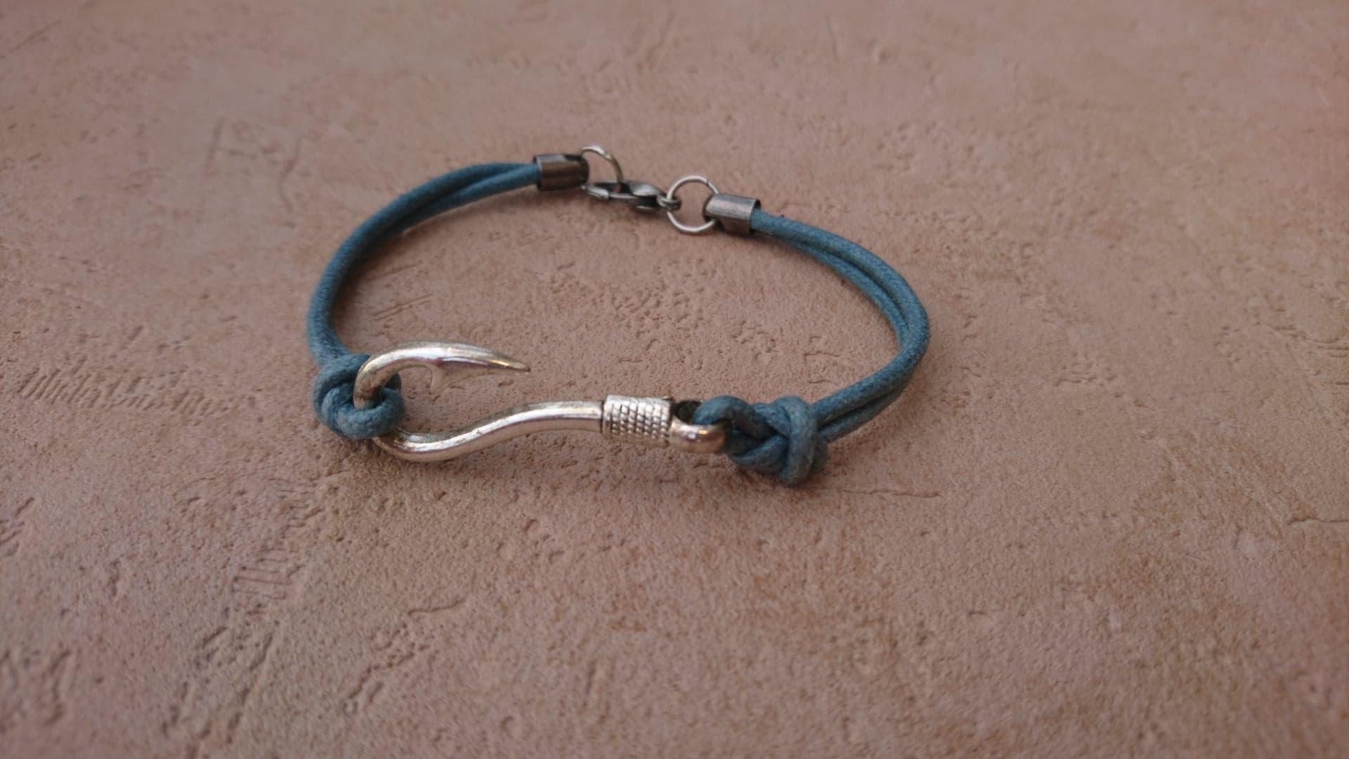 Bracelet Hameçon - bleu ardoise