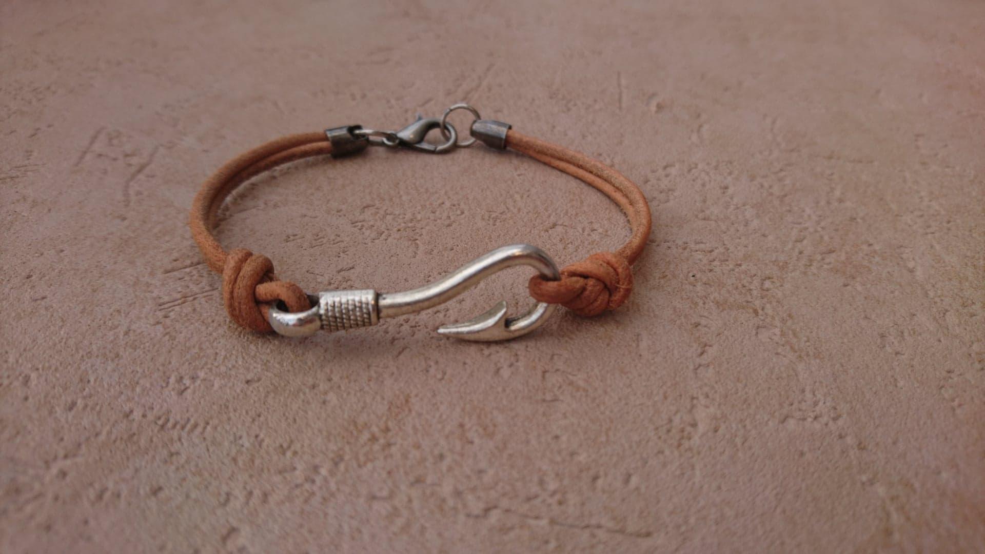 Bracelet Hameçon - cuir naturel