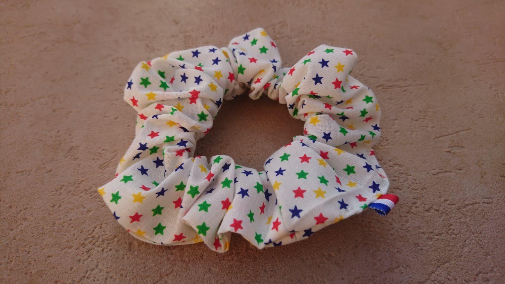 Chouchou en coton Etoiles multicolores