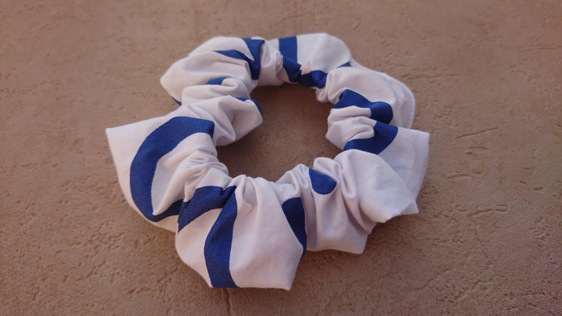 Chouchou en coton - blanc/bleu