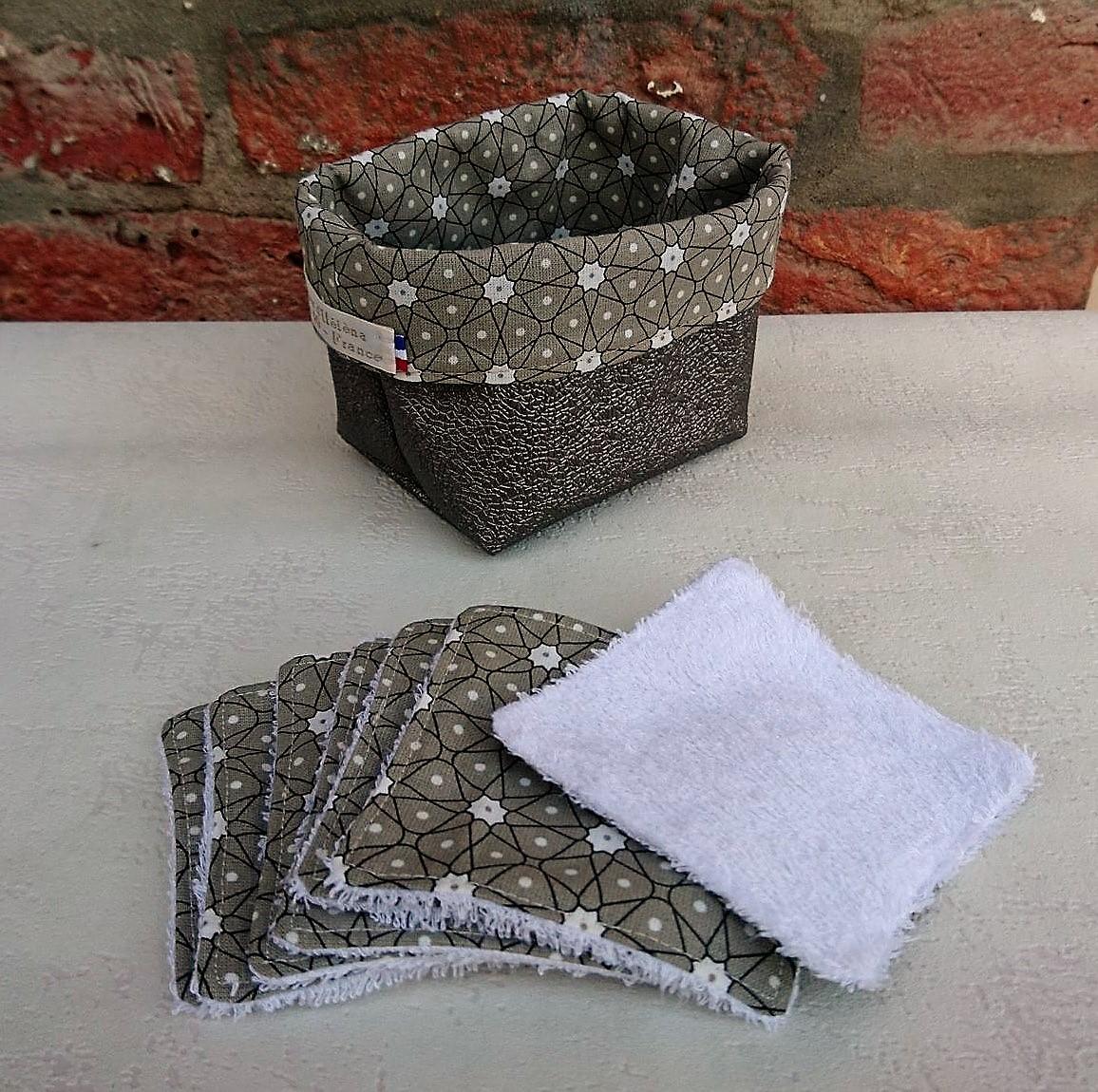 Semainier lingettes démaquillantes lavables bambou avec panière - Géométrique taupe