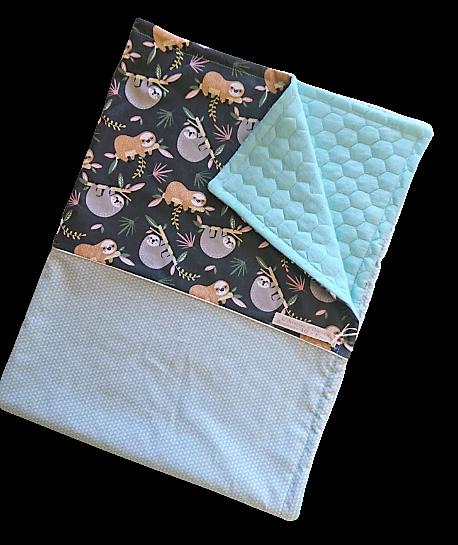 Couverture en coton matelassé - paresseux - vert d\'eau