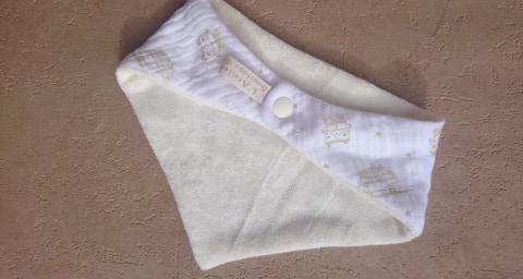 Bavoir bandana en double gaze coton et micro-éponge bambou certifiés oeko-tex, blanc, van combi surf