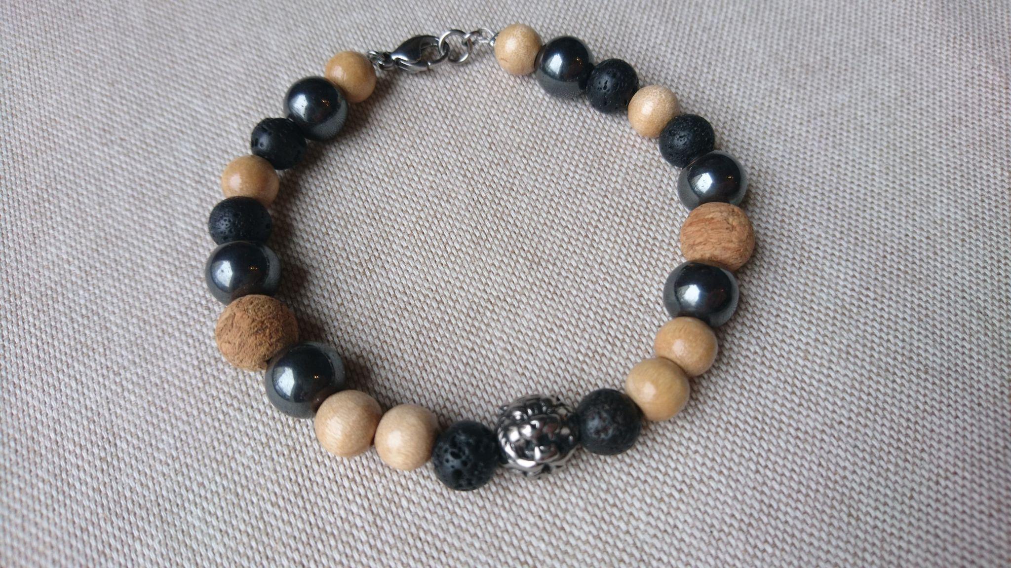 Bracelet pierres, bois et acier inox TIGRE avec fermoir