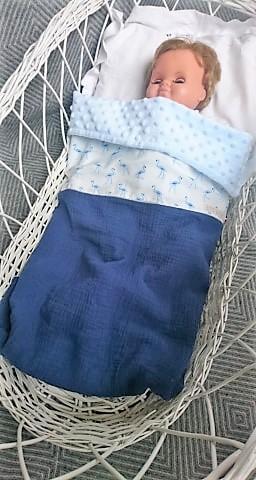 couverture minky double gaze coton  flamant bleu (2)
