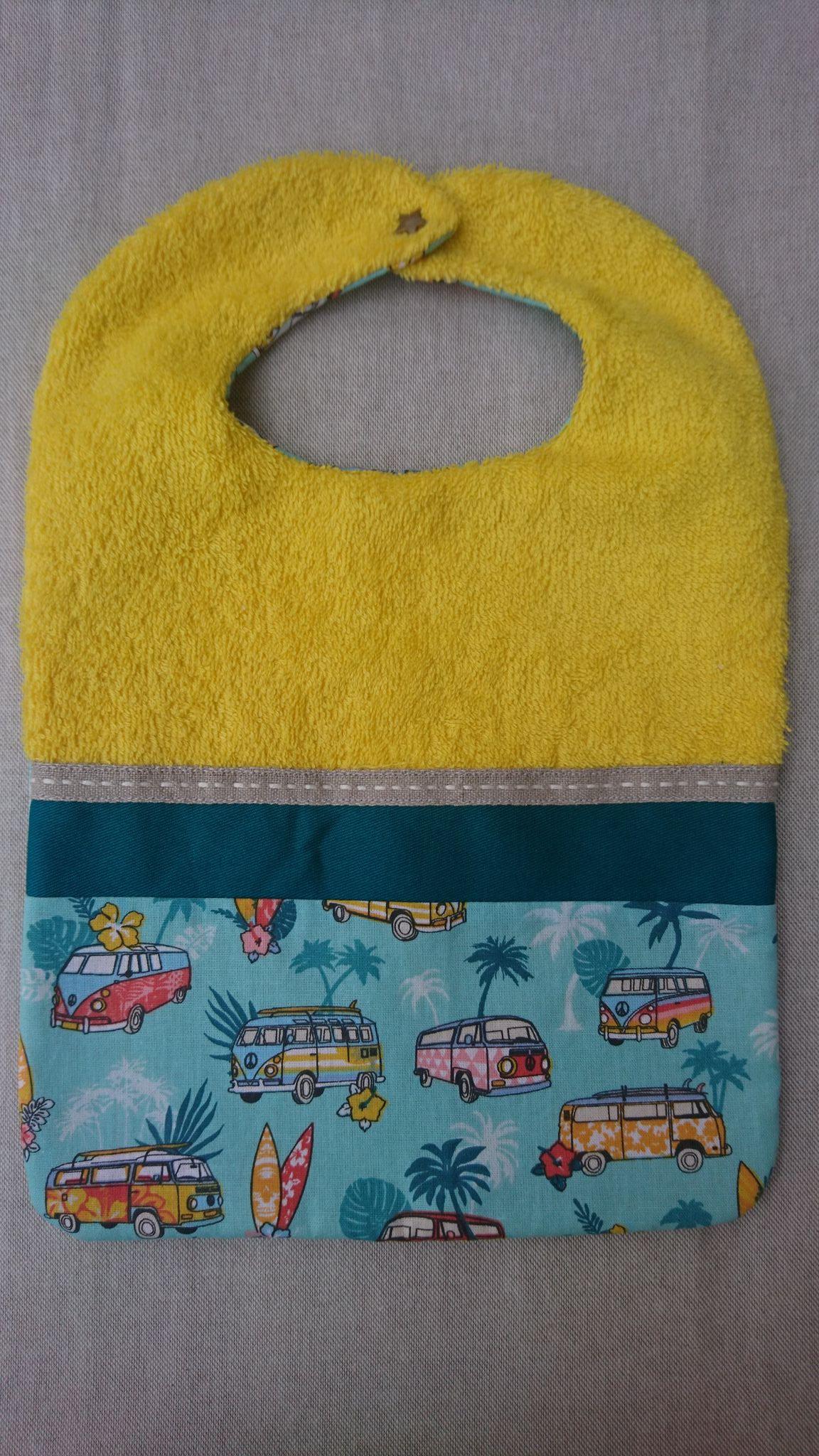 Bavoir réversible en coton - van combi surf vert d\'eau et jaune