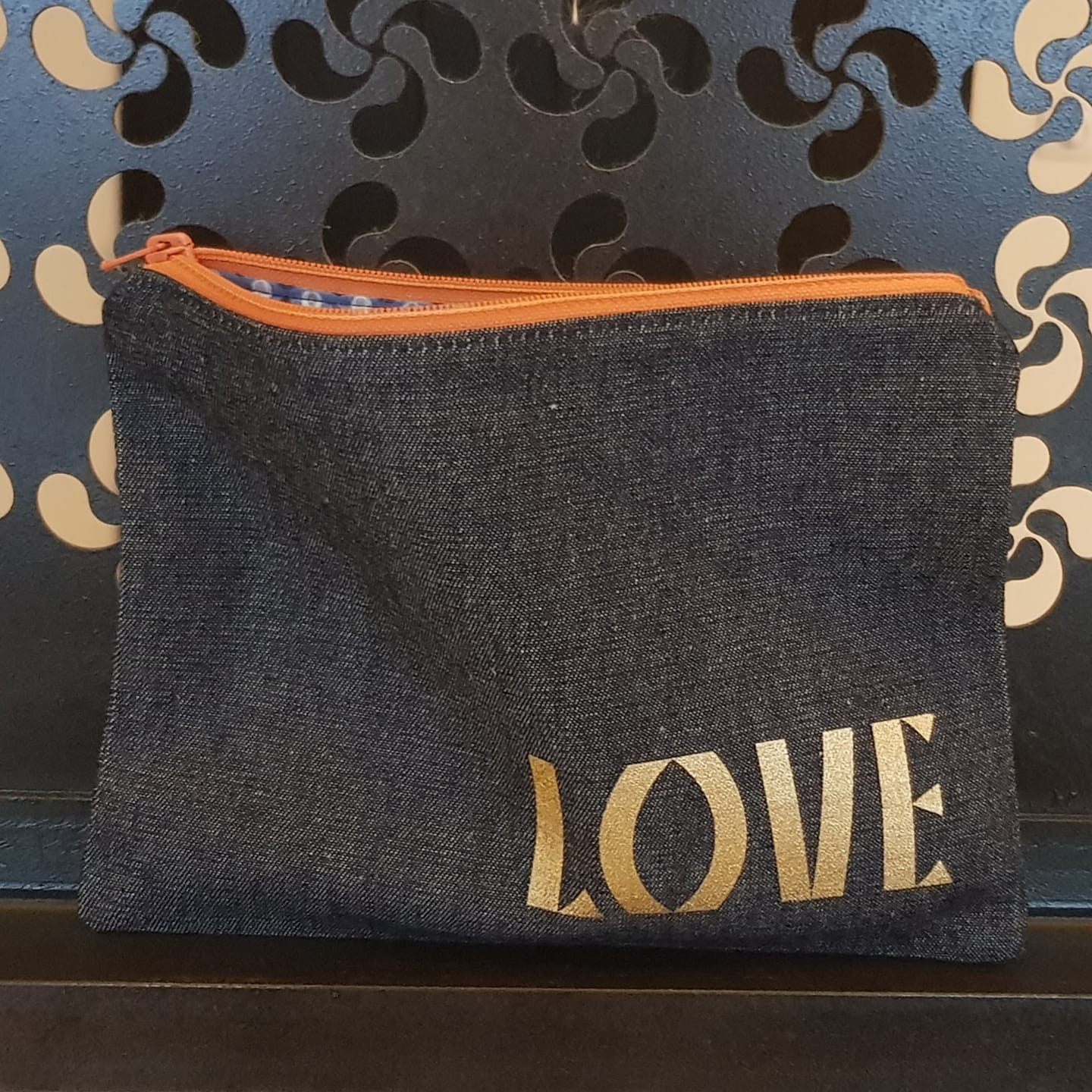 Trousse en jean LOVE