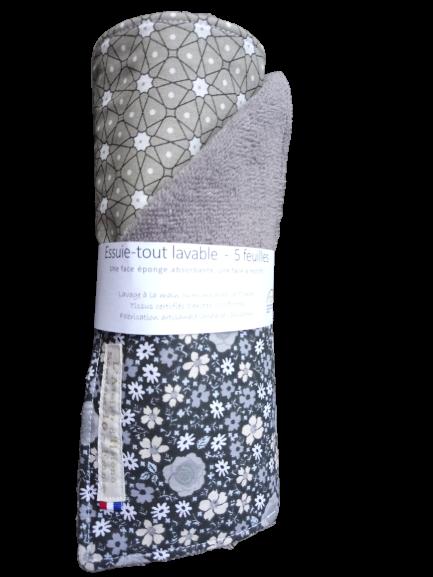 essuie tout 5 feuilles coton lavable taupe géométrique fleurs gris noir