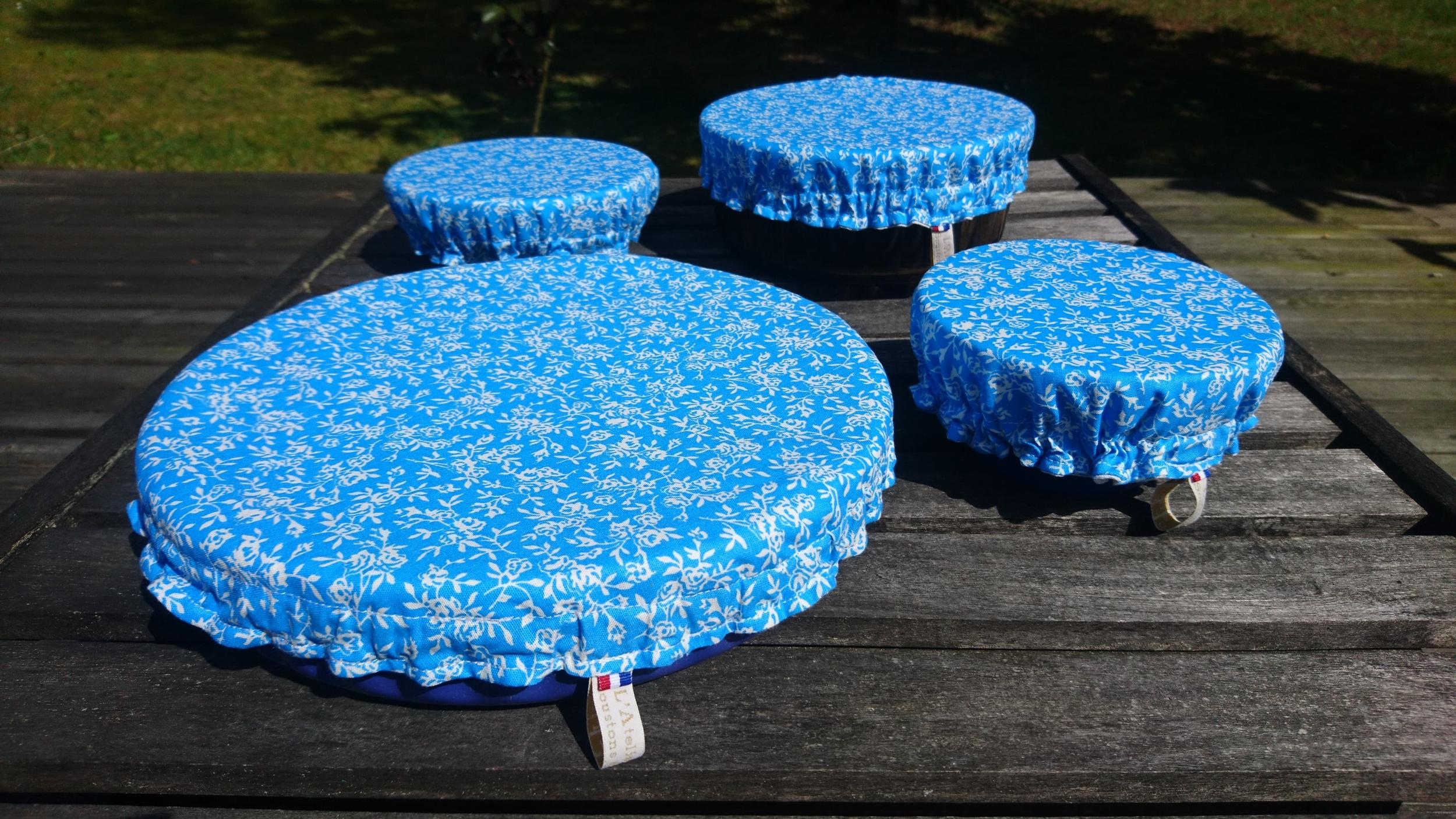 Lot de 4 charlottes couvre-bols / couvre-saladiers lavables et réutilisables coton doublé