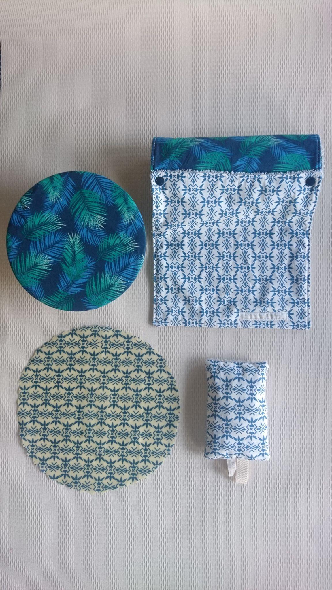 Kit démarrage Zéro déchet - blanc ethnique/palmes bleu-vert
