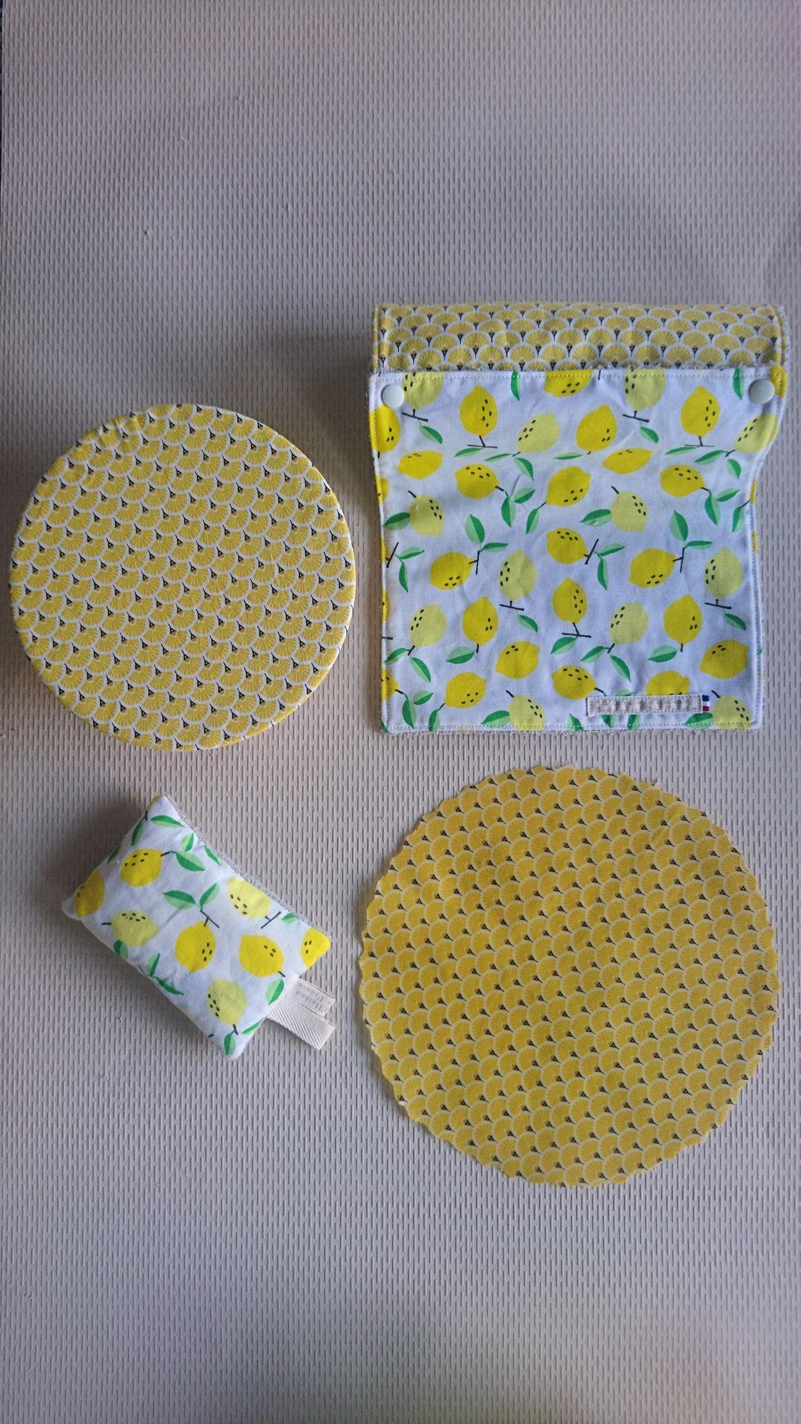 Kit démarrage Zéro déchet - éventails & citrons jaunes