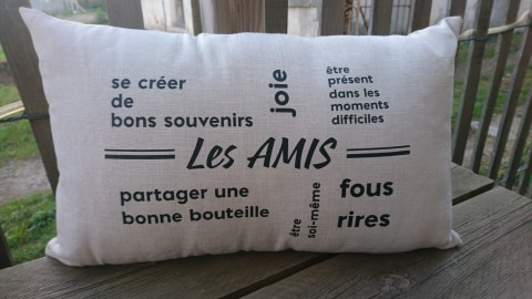 Coussin rectangulaire Amis ou Famille