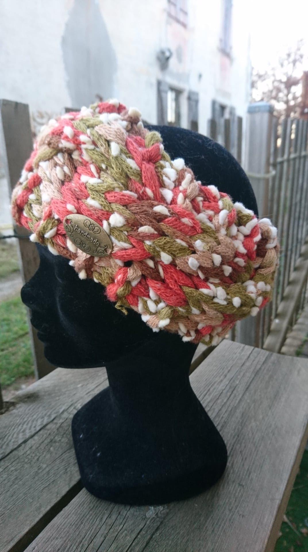 Bandeau cheveux tricoté main : torsade