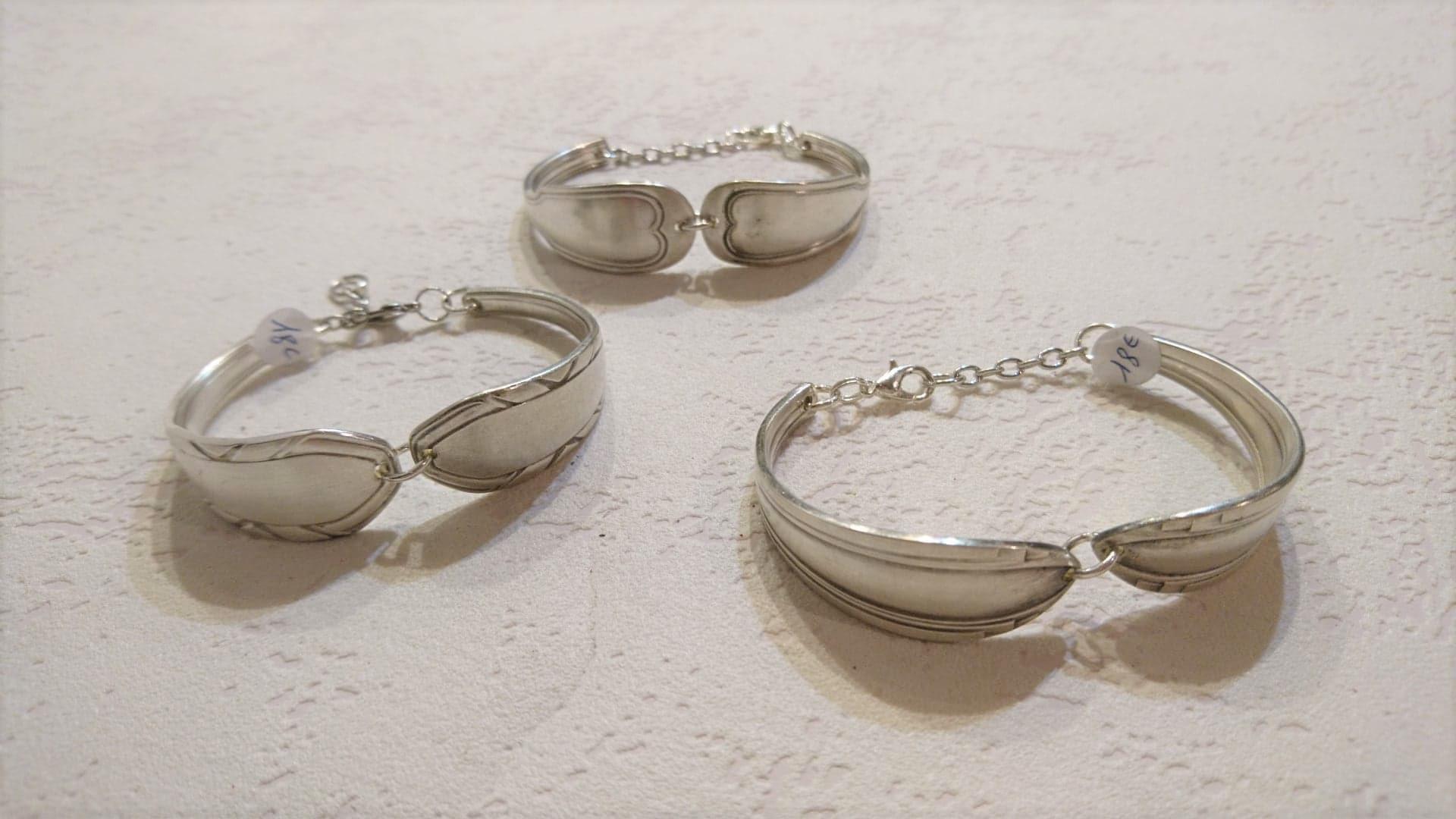 Bracelet rigide cuillères recyclées