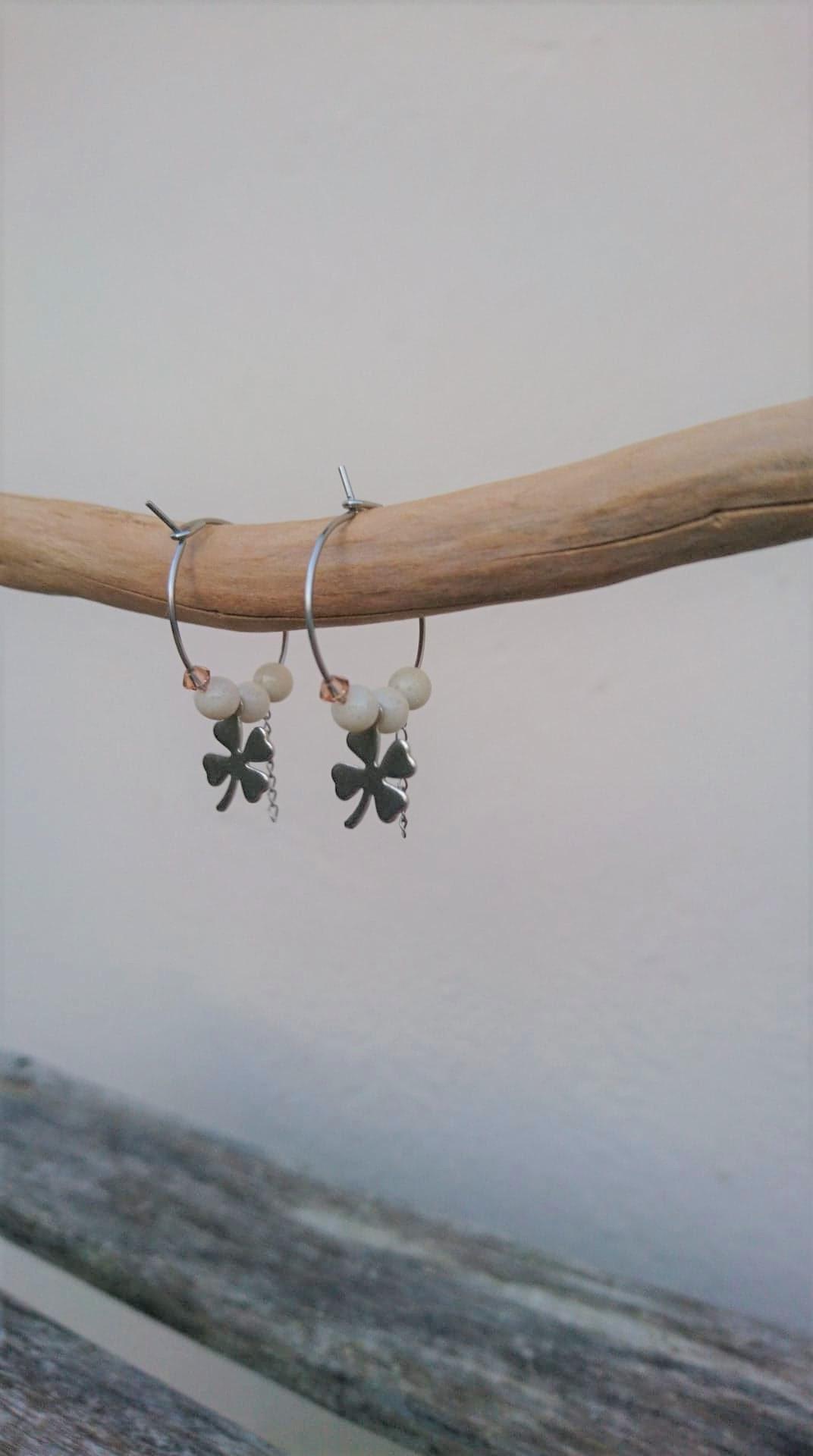 Boucles d\'oreilles créoles acier inoxydable/marbre/cristal PM