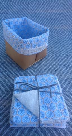 Semainier lingettes démaquillantes lavables bambou avec panière - Géométrique bleu ciel/or
