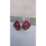 boucles oreilles crochetées rose ancien (2)