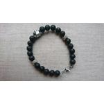 bracelet homme pierre lave basalte noir et inox ours