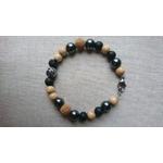 bracelet homme pierre lave basalte noir et inox tigre bois liège