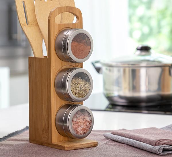 Ensemble de range-épices magnétiques avec des ustensiles en bambou 7 Pièces