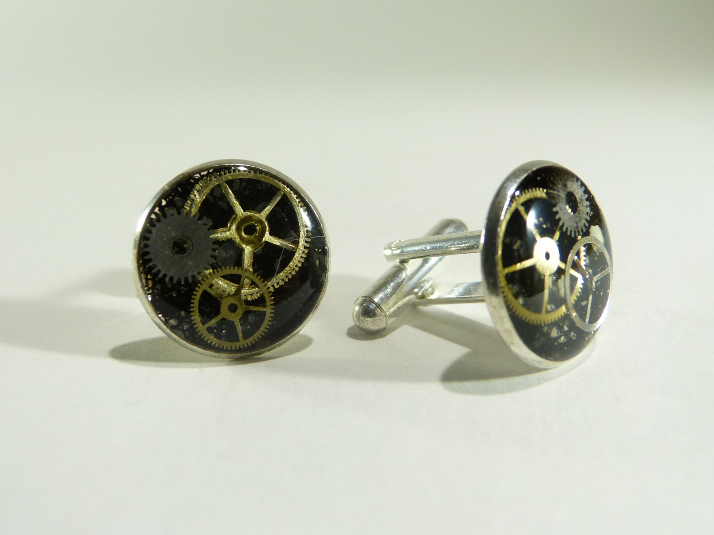 bouton de manchette engrenage, belladone bijoux