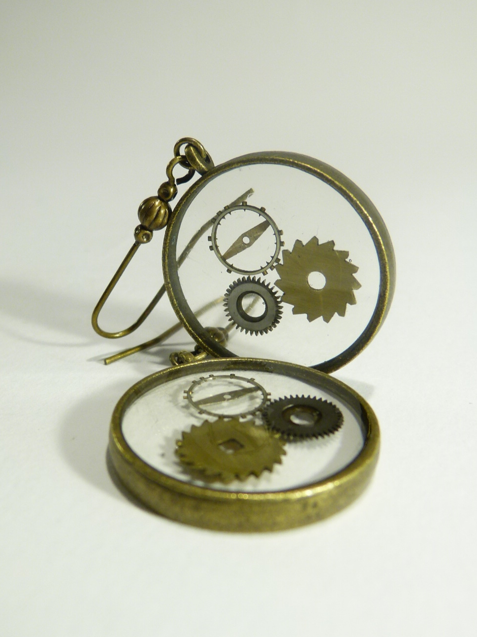 boucles d'oreilles engrenage transparente steam punk