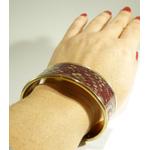 Mona-bracelet laiton doré et dentelle bordeaux résinée
