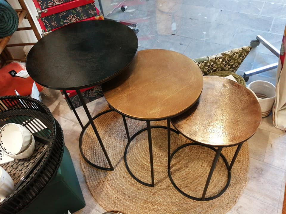 Lot de 3 tables métal design