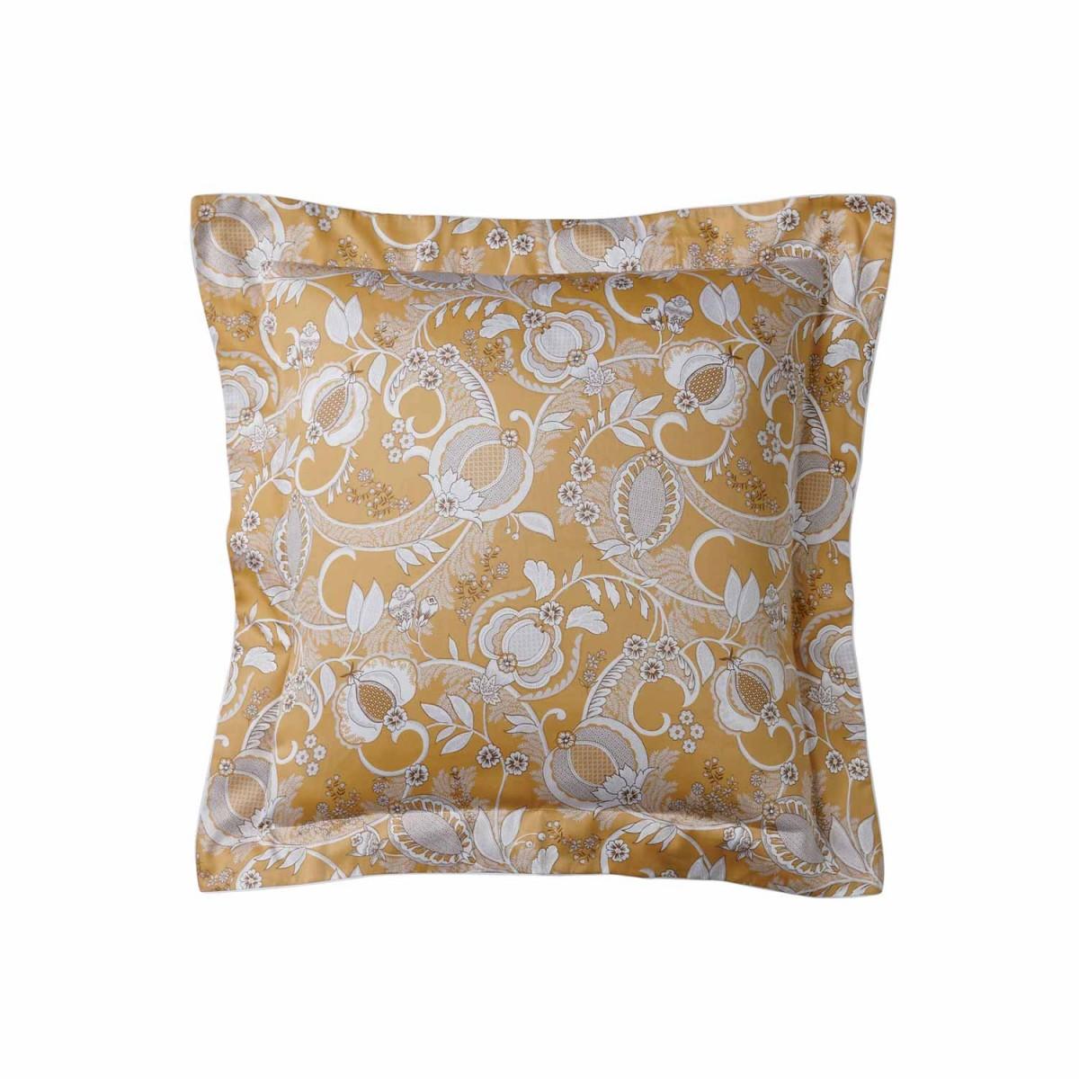 alexandre-turpault-taie-oreiller-carree-jaune-haut-de-gamme-satin-coton-mogador