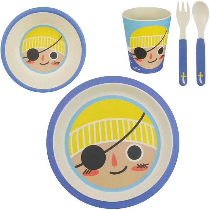 set-repas-enfant-assiette-bol-verre-et-couverts-pirate-bambou-multicolore