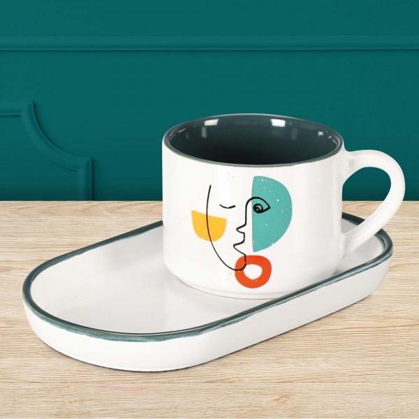 Mug et coupelle visage en porcelaine couleur