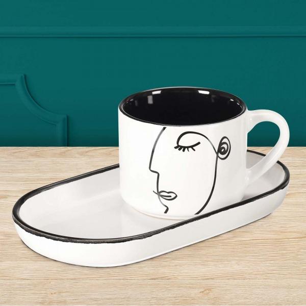 Mug et coupelle visage en porcelaine noir et blanc