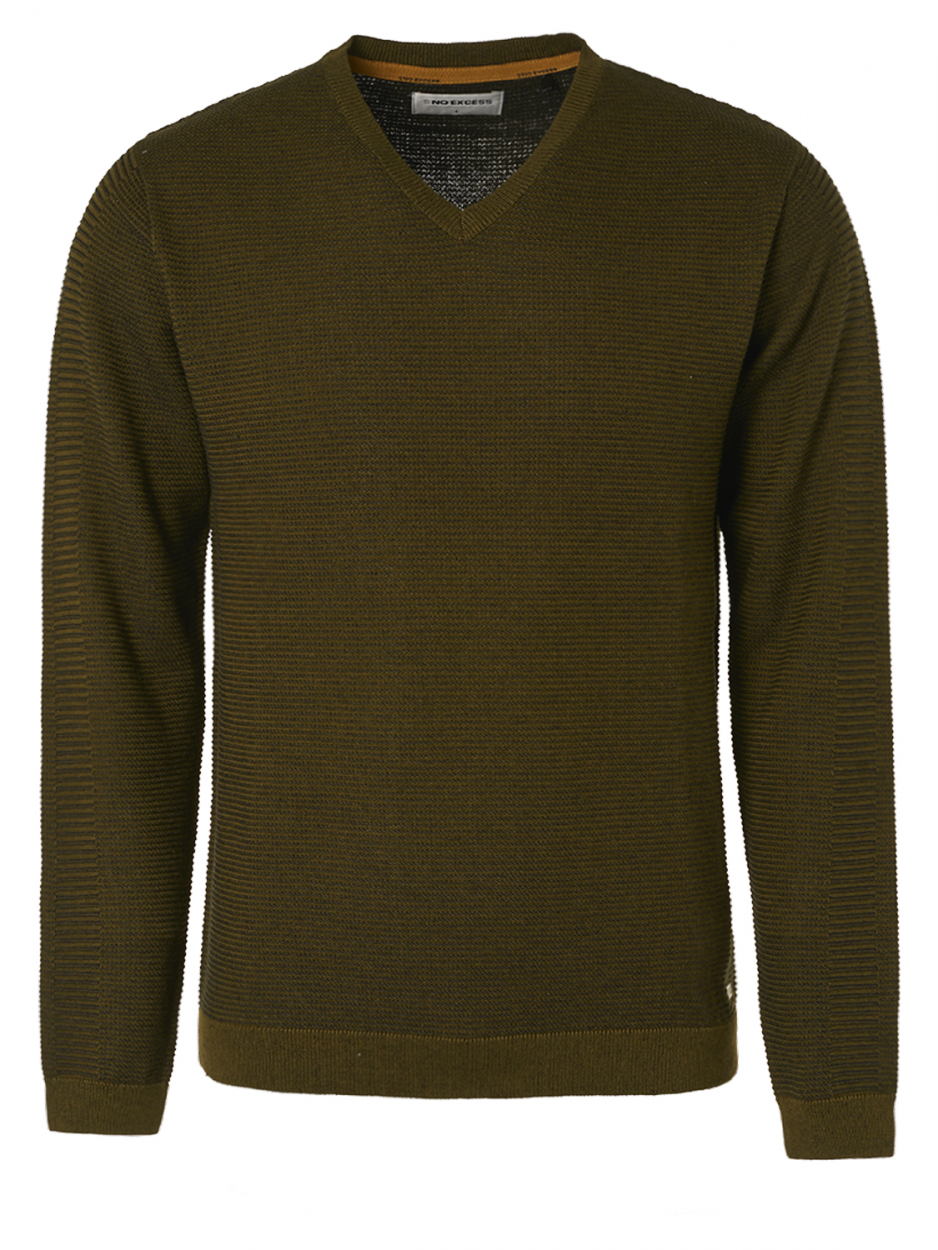 Pull col V couleur tourbe No Excess