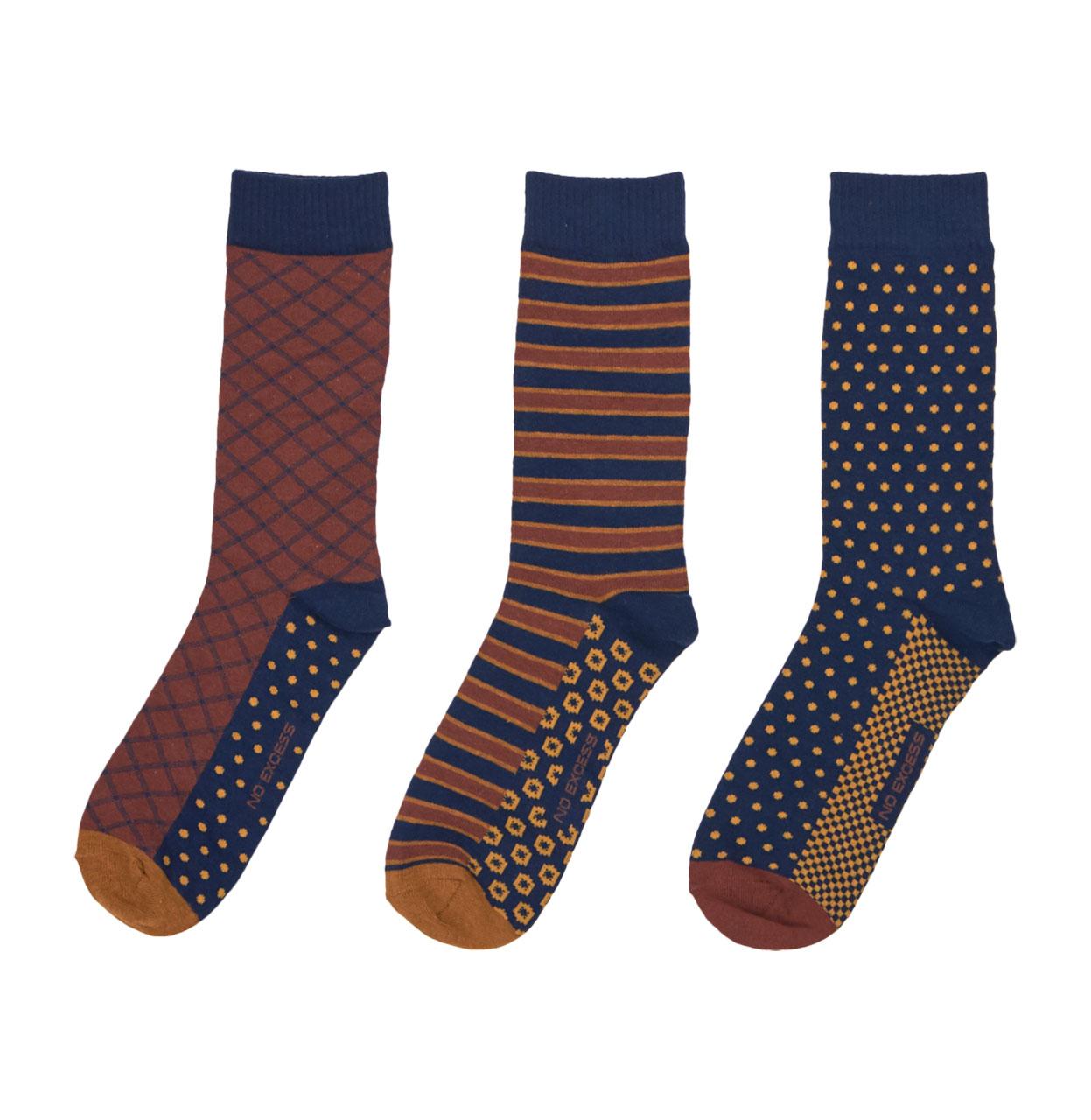 Coffret 3 paires de chaussettes bleu marine No Excess