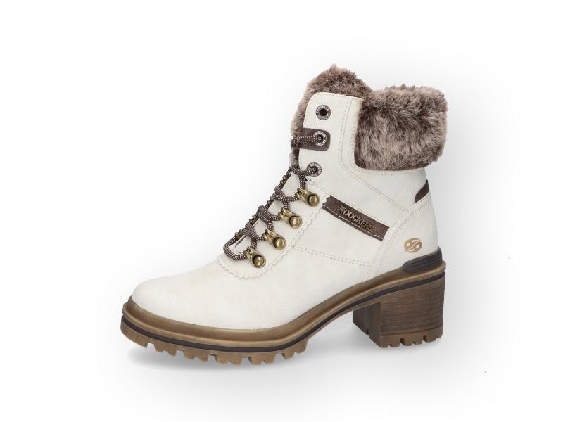 Boots blanche à talon Dockers