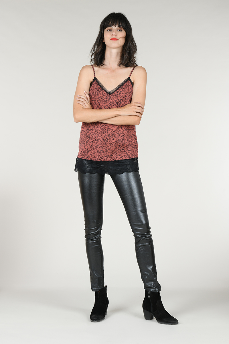 Pantalon slim simili noir Molly Bracken