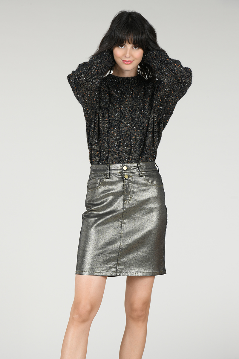 Mini jupe enduite bronze Molly Bracken