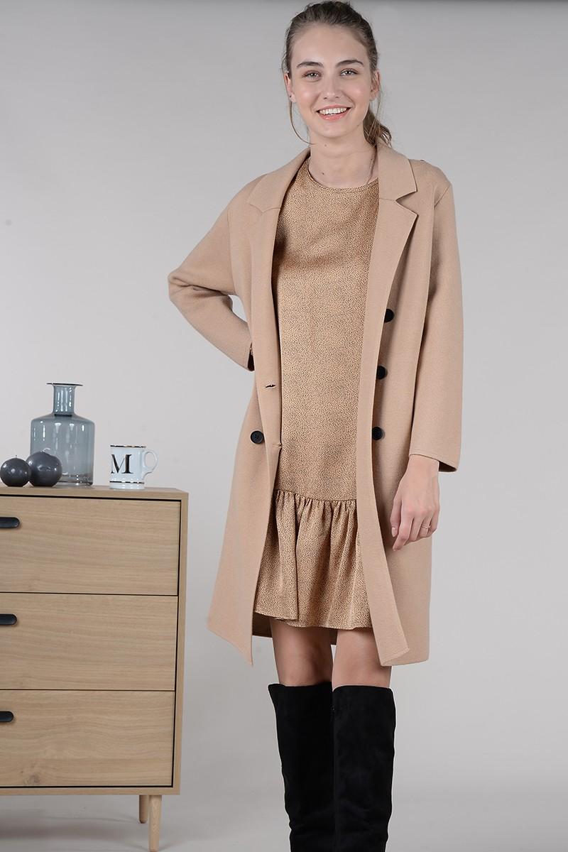 Manteau droit en mailles Molly Bracken