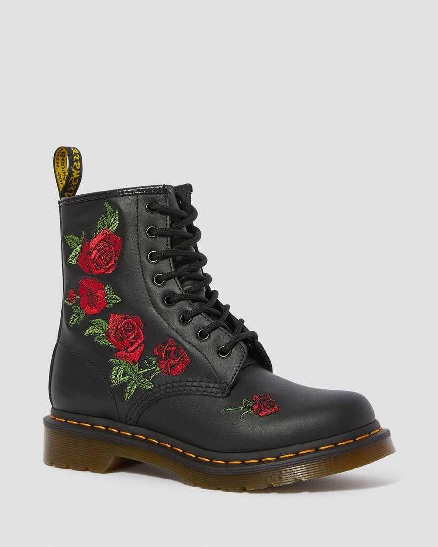 Boots 1460 Vonda en cuir à Broderies fleuries Dr Martens