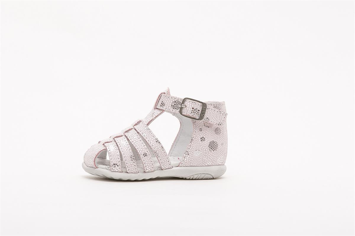 Sandale en cuir premiers pas Zetati rose
