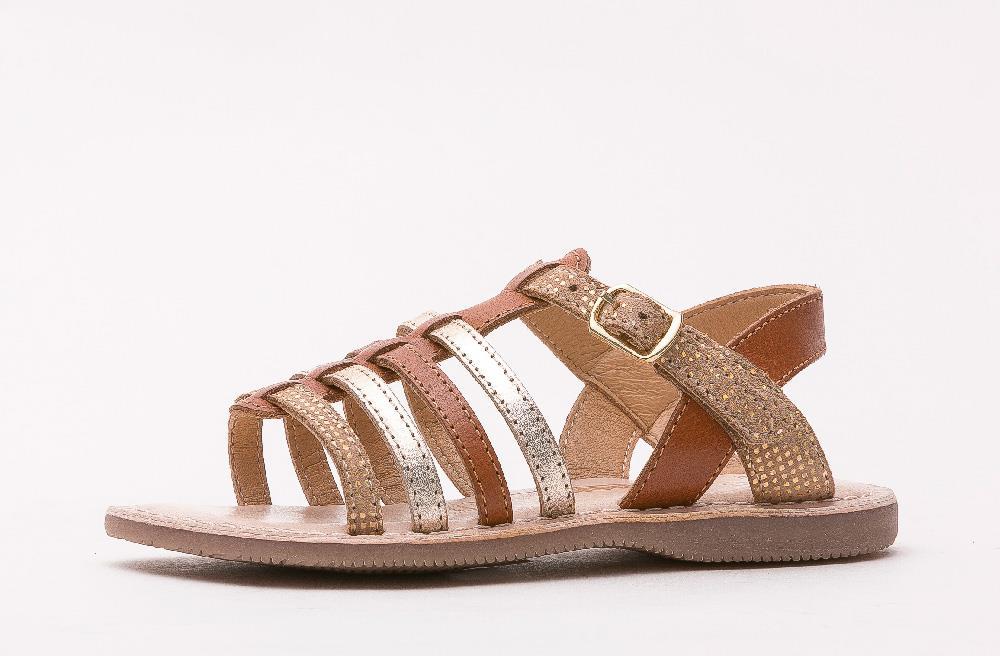 Sandale en cuir Fany marron/or