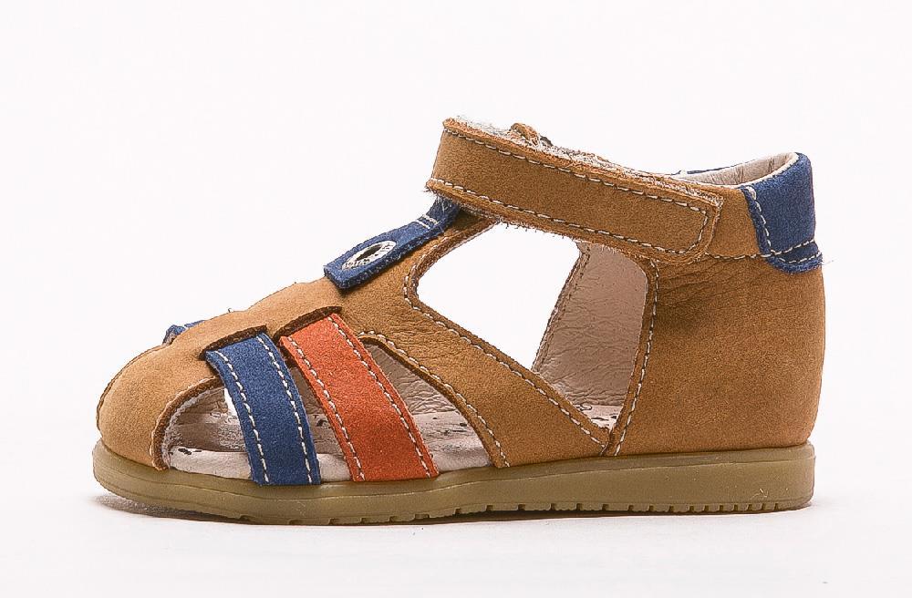 Sandale en cuir premiers pas Radja caramel