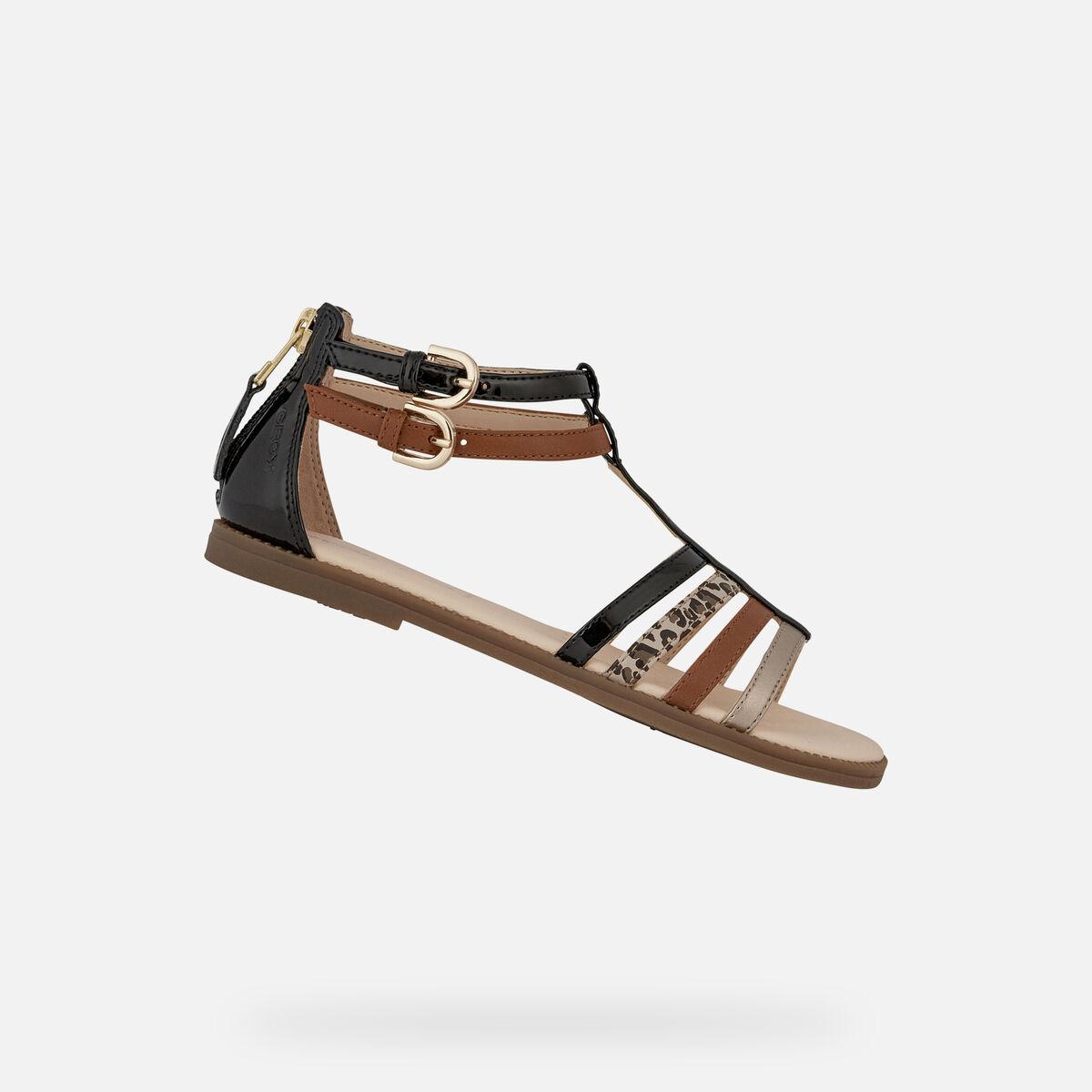 Sandale en cuir pour fille Geox Karly J7235D C9b5g black/caramel