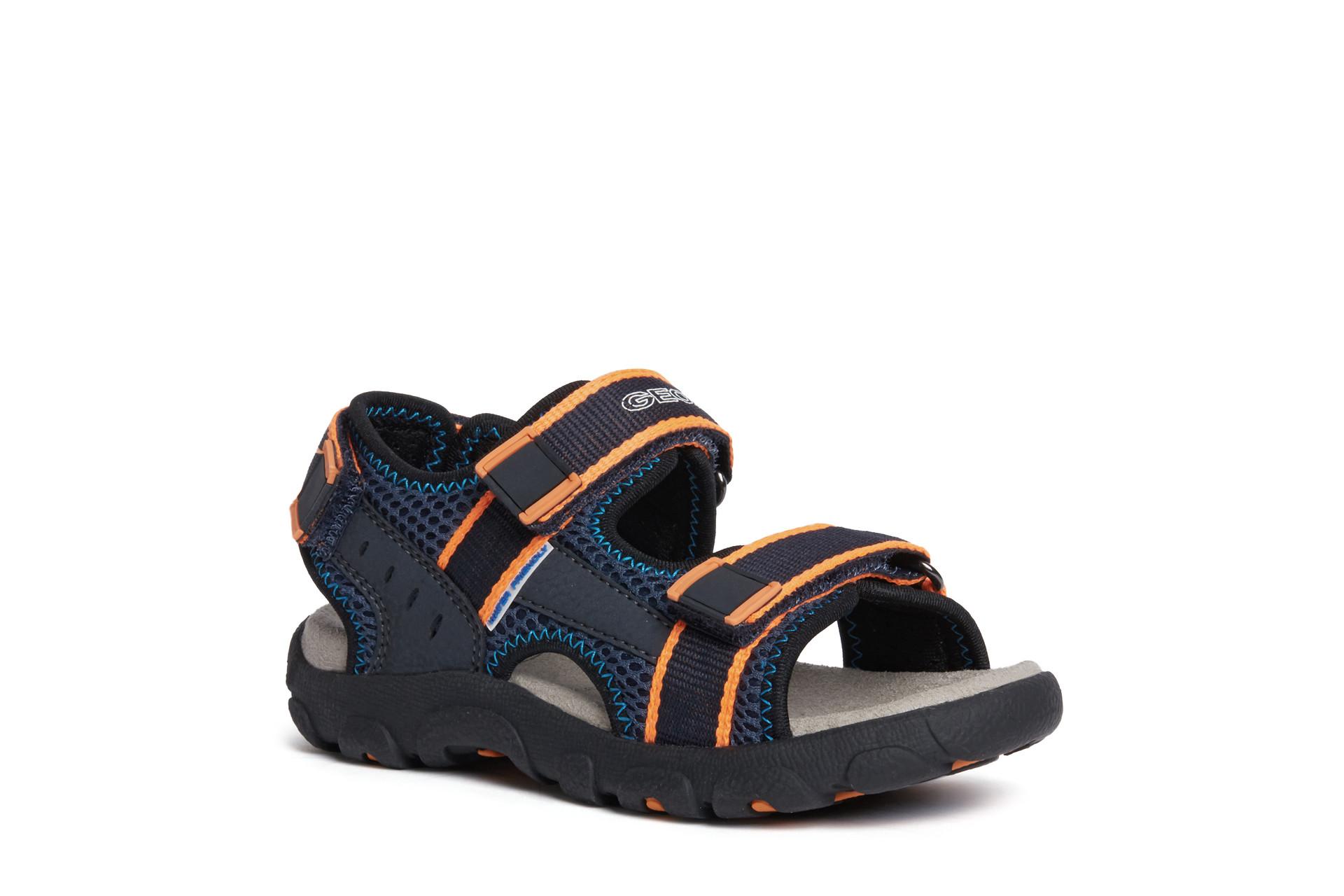 Sandale pour garçon Geox Strada J1524A navy/fluo orange