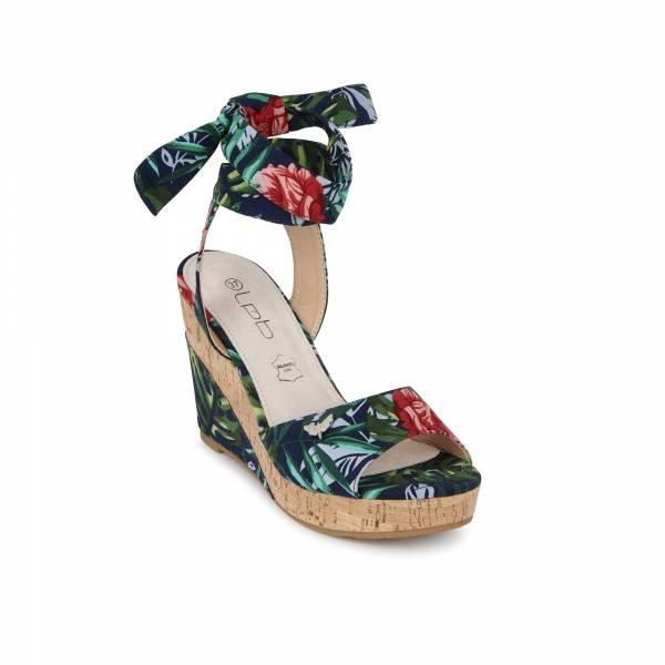 Sandale compensée LPB Bela print marine fleuris