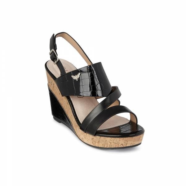 Sandale compensée LPB Meline noir croco
