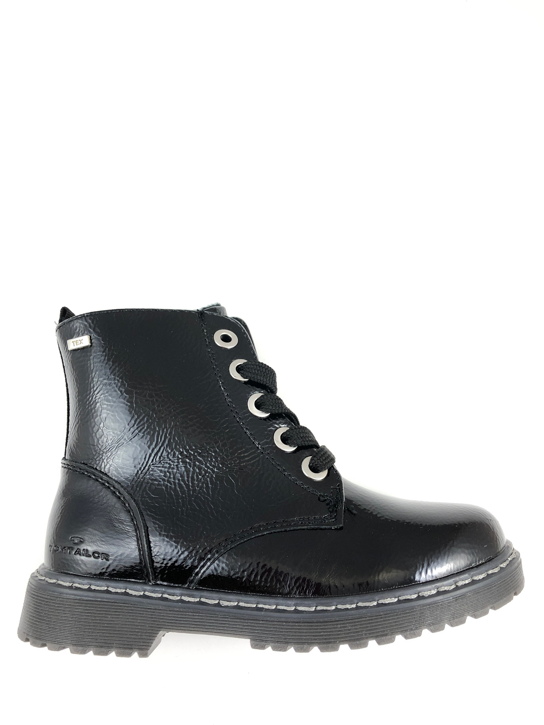 Bottines vernies noires à lacets
