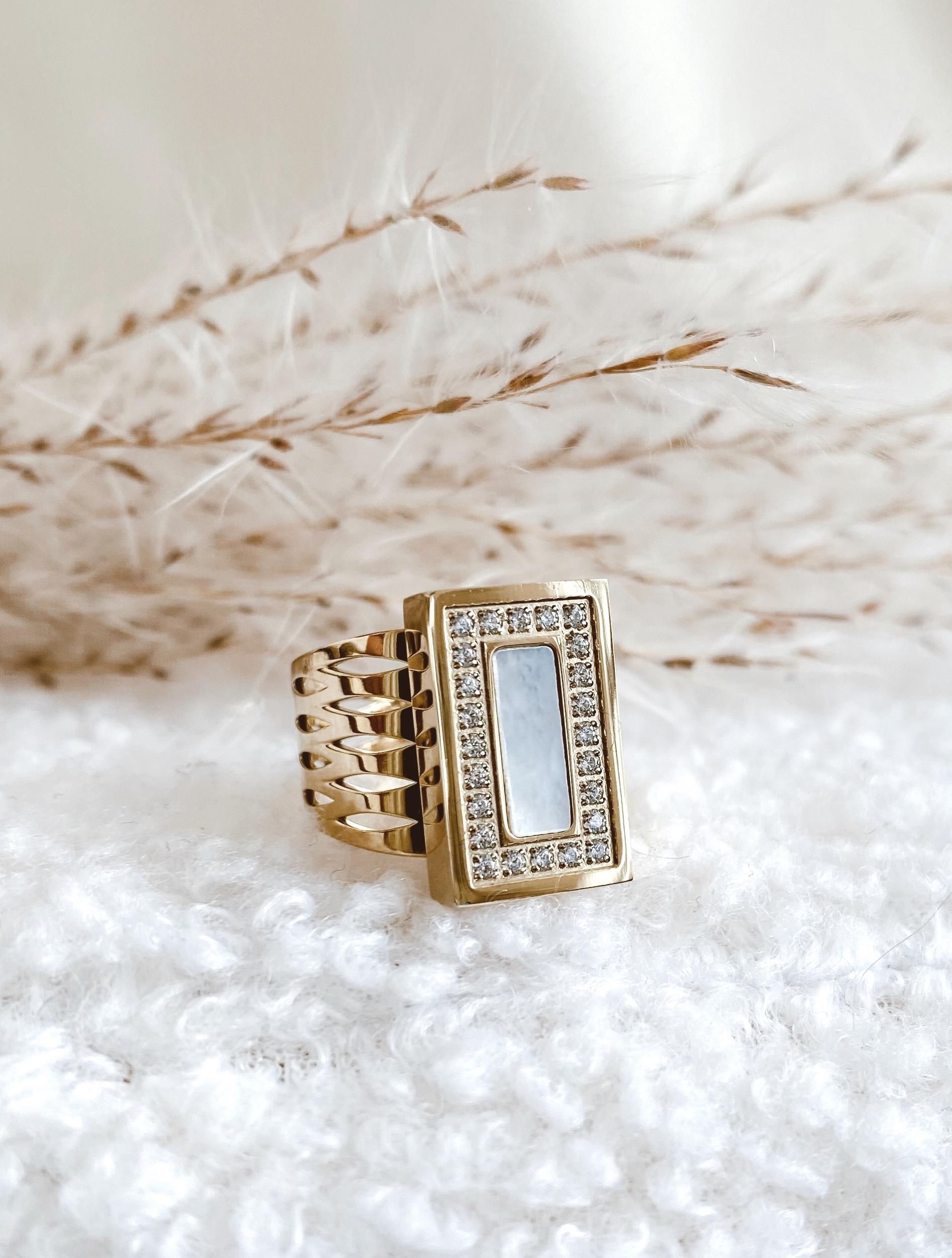 Bague Elyana acier doré - Zag bijoux