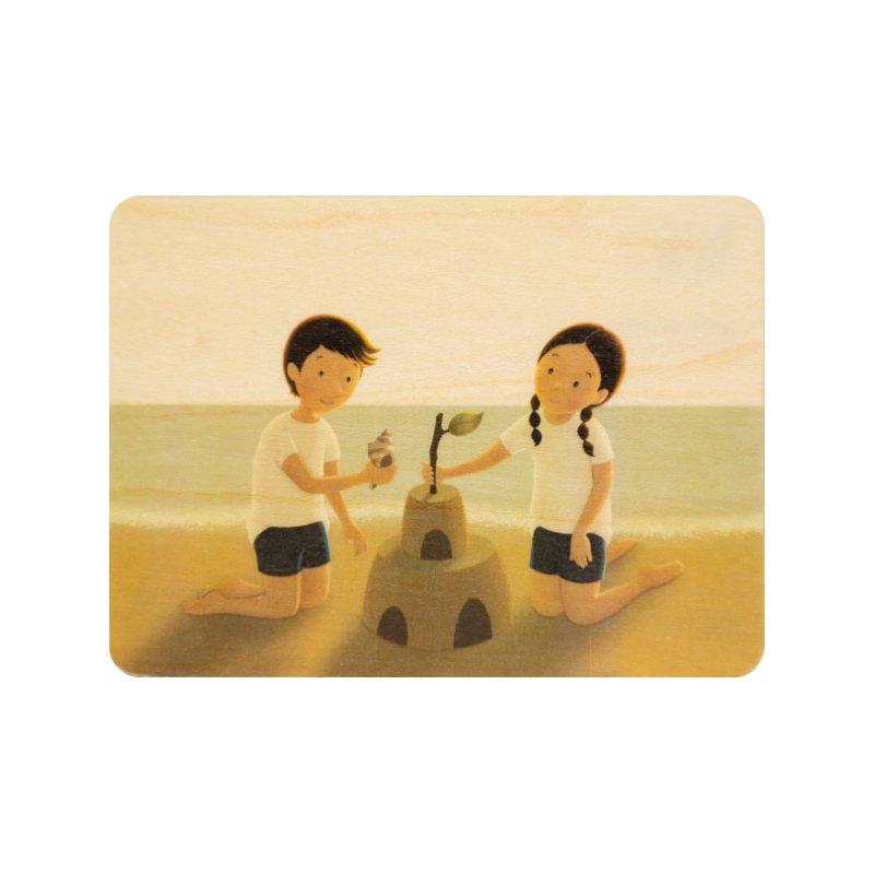 Carte postale bois château de sable