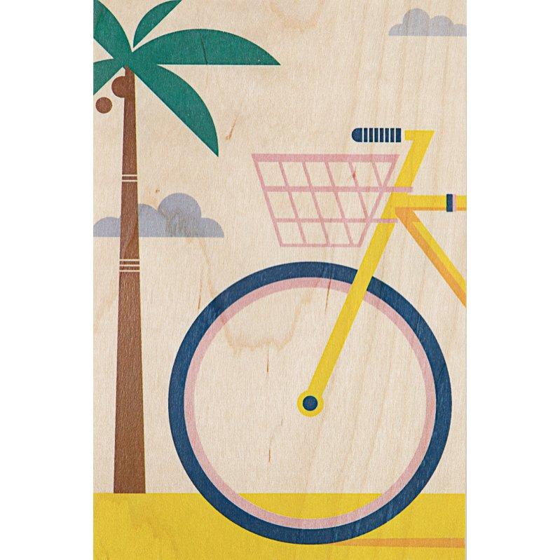 Carte postale bois vélo